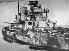 SMS Seydlitz was heavily damaged in the battle, hit by twenty-one main calibre shells, several secondary calibre and one torpedo. 98 men were killed and 55 injured.