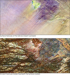 The top image shows the Safsaf Oasis on the surface of the Sahara. The bottom (using radar) is the rock layer underneath, revealing black channels cut by the meandering of an ancient river that once fed the oasis.