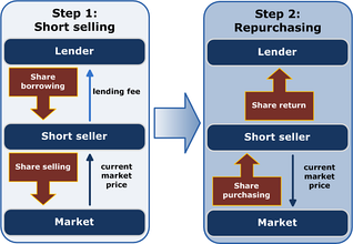 Schematic representation of short selling in two steps. The short seller borrows shares and immediately sells them. The short seller then expects the price to decrease, when the seller can profit by purchasing the shares to return to the lender.