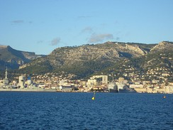 View of Toulon, the Arsenal and Mount Faron from the Harbour.