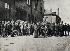 Strikers gathering in Tyldesley, Greater Manchester in the 1926 General Strike in the U.K.