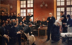André Brouillet's 1887 A Clinical Lesson at the Salpêtrière depicting a Charcot demonstration. Freud had a lithograph of this painting placed over the couch in his consulting rooms.[39]