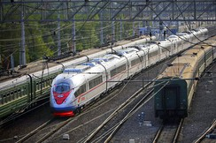 The Sapsan high-speed train runs between Moscow and Saint Petersburg