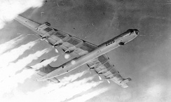 "11th Bombardment Wing Convair B-36J-5-CF Peacemaker 52-2225 showing ""Six turnin', four burnin"", 1955"