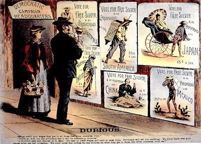 1896 Republican poster warns against free silver.