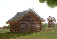 A typical Volhynian log cabin: Shpykhlir in the village of Samara in Rivne Oblast