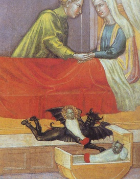 "The devil steals  a baby, leaving a concealed changeling.  Early 15th century, detail of ""The legend of St. Stephen"" by Martino di Bartolomeo"