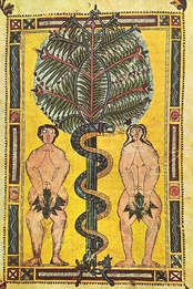 Illuminated parchment, Spain, circa AD 950–955, depicting the Fall of Man, cause of original sin