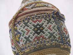 Ethiopian beadwork on basket, from the ethnographic collection of the National Museum, Addis Ababa