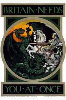Poster by the Parliamentary Recruiting Committee, featuring St. George and the Dragon.