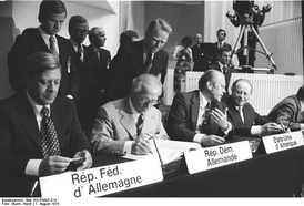 Helmut Schmidt, Erich Honecker, Gerald Ford and Bruno Kreisky at the 1975 CSCE summit in Helsinki, Finland.