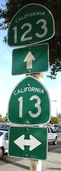 Route shield signs at the intersection of San Pablo Avenue (SR 123) and Ashby Avenue (State Route 13) in Berkeley.