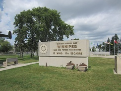Entrance to CFB Winnipeg. CFB Winnipeg is the home garrison for a number of Royal Canadian Air Force units.
