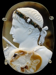 The Blacas Cameo showing Augustus wearing a gorgoneion on a three layered sardonyx cameo, AD 20–50
