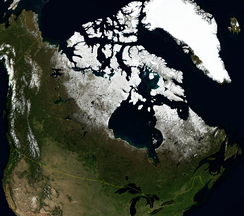 An enlargeable satellite image of Canada