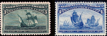 The Flagship of Columbus and the Fleet of Columbus. 400th Anniversary Issues of 1893. (On ships.)