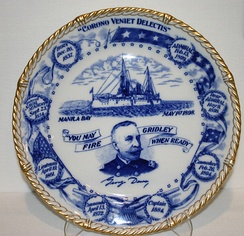 Commemorative plate from the Spanish–American War era honoring George Dewey and his victory.