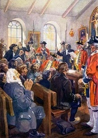 The deportation order is read to a group of Acadians in 1755.