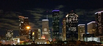 Downtown Houston skyline during the 2017 World Series
