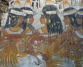 Lute and double pipe players from a painting found in the Theban tomb of Nebamun, a nobleman of the 18th Dynasty of the New Kingdom, c. 1350 BC
