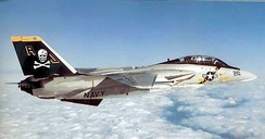 An F-14A of VF-84 Jolly Rogers, in a 1970s color scheme