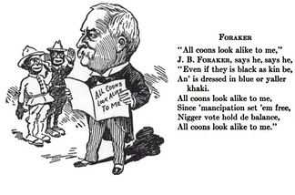 Cartoon and verse satirizing Foraker from the 1907 Gridiron Dinner