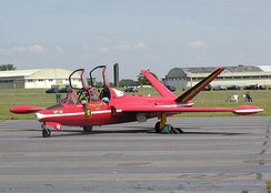 The V-tail of a Belgian Air Force Fouga CM.170 Magister