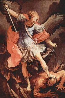 The Archangel Michael wears a late Roman military cloak and cuirass in this 17th-century depiction by Guido Reni