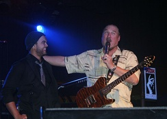 Sebastian and Steve Cropper on stage during The Memphis Tour