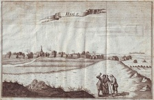 Hasle from the north with Rønne in the distance. Engraving by Jonas Haas (18th century)