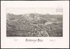 Print of Haydenville from 1886 by L.R Burleigh with listing of landmarks depicted