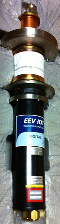 An IOT for UHF ATSC broadcast television, manufactured by e2v and shown new in packaging.