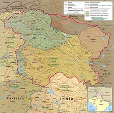 Political map: the Kashmir region districts