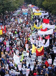 Anti-War protest in London, September 2002. Organised by the British Stop the War Coalition, up to 400,000 took part in the protest.[91]
