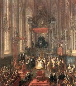 Maria Theresa being crowned Queen of Hungary in the St. Martin's Cathedral, Pressburg (Bratislava)