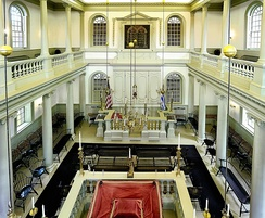 Interior of the Touro Synagogue, where Washington addressed his famous letter in support of freedom of religion in the United States