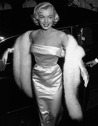 Monroe arriving at a party celebrating Louella Parsons at Ciro's nightclub in May 1953