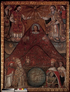 The Potosí Madonna depicts the Cerro Rico in Potosí with the face of the Virgin Mary, evoking the Andean earth mother Pachamama. Christian angels and saints are visible at the top of the painting, and Spanish authorities look on from below, while an Inca in royal garb is seen on the hill itself.