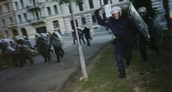 Attack of police during the riots in Gothenburg, 15 June 2001