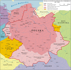 Poland at the end of the reign of Bolesław I.