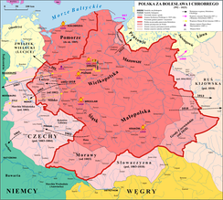 Poland expanded under its first two rulers. The dark pink area represents Poland at end of rule of Mieszko I (992), whereas the light pink area represents territories added during the reign of Bolesław I (died 1025). The dark pink area in the northwest was lost during the same period.