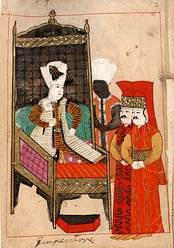 Ottoman Sultan Mehmed IV attended by a eunuch and two pages.