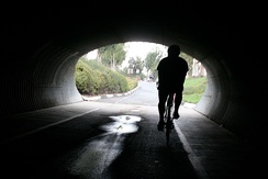San Diego Creek Trail Tunnel under E. Yale Loop near Woodrow Community Park in Irvine, CA