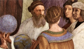 Zarathustra as depicted in Raphael's The School of Athens beside Raphael who appears as the ancient painter Apelles of Kos.