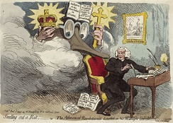 Smelling out a Rat, a caricature of Price with Edmund Burke's vision looking over his shoulder, by James Gillray, 1790.