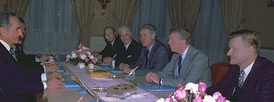 The Shah of Iran (left) meeting with members of the U.S. government: Alfred Atherton, William Sullivan, Cyrus Vance, Jimmy Carter, and Zbigniew Brzezinski, 1977