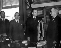 Green with President of the United States Harry Truman and Senator J. Howard McGrath in 1947.