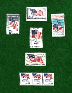 Flags depicted on U.S. postage stamp issues