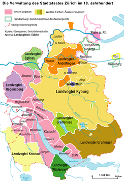 Administrative division of the Zürichgau in the 18th century.