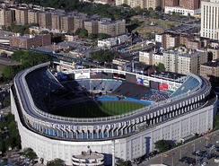 During 1974 and 1975, Yankee Stadium was renovated into its final shape and structure, as shown here in 2002, seven years before demolition.